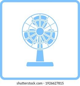 Electric Fan Icon. Blue Frame Design. Vector Illustration.
