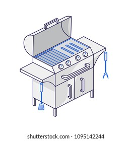 Electric or gas grill on three legs. One of the barbecue set. Vector illustration for mobile phones, apps, posters and flyers.