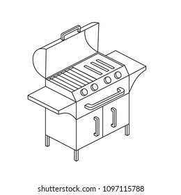 Electric or gas grill on three legs. Modern icon in isometric view.Vector illustration for mobile phones, apps, posters and flyers.