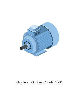 Electric generator motor. Vector 3d isometric, color web icon, new flat style. Creative illustration design, idea for infographics.