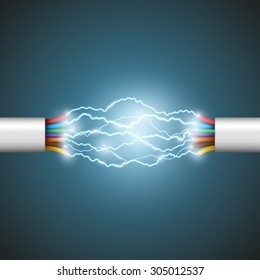 Electric glowing arc discharges between the wires. Short circuit. Stock vector illustration.