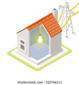 Electric Grid Infographic Icon Concept. Isometric 3d Soften Colors Elements. Electricity Power Providing Chart Scheme Illustration Vector