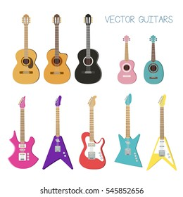 Electric guitar, acoustic (classic) guitar, bass guitar, ukulele. Popular music instruments set isolated on white
