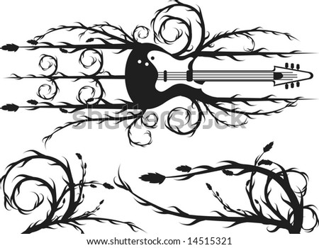 Electric Guitar Border Roots Leaves Plus Stock Vector Royalty Free