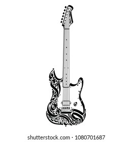 Electric Guitar, a decorative symbol taken from the curves of the Arabic language, which doesn't contain any words or even a full letter, great tattoo