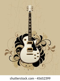 Electric guitar with design elements on a dirty background