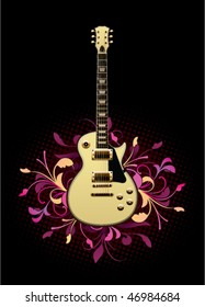 Electric guitar with design elements on a black background