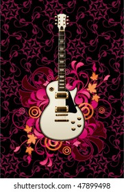 Electric guitar with design elements on a dark background