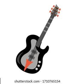 Electric guitar flat vector illustration. Rock music instrument. Flat illustration electric guitar. Acoustic guitar or ukulele. Isolated on white background. Vector illustration.