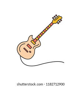 Electric guitar icon. Cartoon electric guitar vector icon for web design isolated on white background