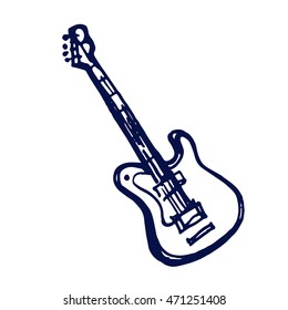electric guitar  icon doodle hand drawn sketch