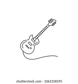 Electric guitar icon. Outline electric guitar vector icon for web design isolated on white background