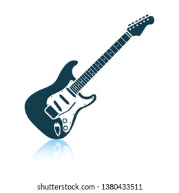 Electric guitar icon. Shadow reflection design. Vector illustration.