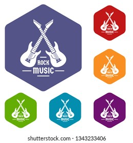 Electric guitar icons vector colorful hexahedron set collection isolated on white