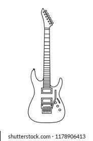 Electric guitar line vector.