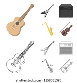 Electric guitar, loudspeaker, saxophone, violin.Music instruments set collection icons in cartoon,outline style vector symbol stock illustration web.