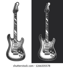 Electric guitar. Monochrome vector illustration on white and dark background. Design element.