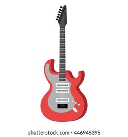 Electric guitar music instrument icon with red and white colors, vector illustration.