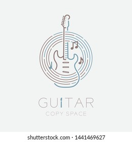 Electric guitar, music note with line staff circle shape logo icon outline stroke set dash line design illustration isolated on grey background with guitar text and copy space