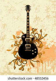 Electric guitar on a dirty floral background