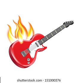 electric guitar on fire isolated on white