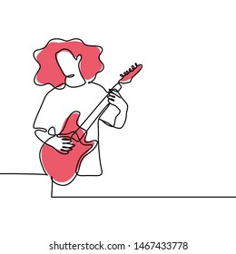 Electric guitar player one line drawing minimalist design