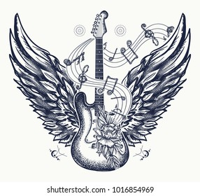 Electric guitar, roses, angel wings and music notes. Rock and roll t-shirt design. Symbol of  music festivals. Electric guitar tattoo art print