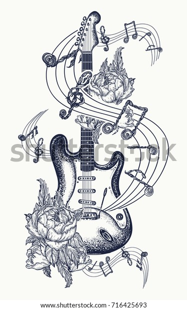 Electric guitar, roses and music notes. Rock and roll t-shirt design. Symbol of rock musical festivals tattoo art