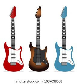 Electric guitar, a set of realistic electric guitars. Musical instrument. Flat design, vector illustration, vector.