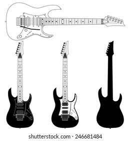 Electric Guitar Silhouettes Isolated on White Background. Vector Image