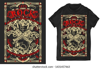 Electric guitar, skull and crossed guns. Let's Rock slogan. Musical print for t-shirts and another, trendy apparel design