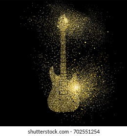 Electric guitar symbol concept illustration, gold music instrument icon made of realistic golden glitter dust on black background. EPS10 vector.