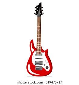 Electric guitar. Vintage label, illustration, logotype. Vector illustration
