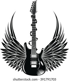 Electric guitar with wings. Vintage label, illustration, logotype. Vector illustration