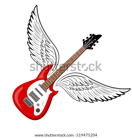 Electric Guitar Wings Vintage Label Illustration Stock Vector