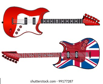 electric guitars made in rock and British style . vector illustration