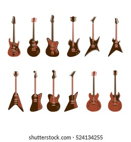 Electric guitars set on white background. All kinds of guitars like Les Paul, stratocaster, telecaster, explorer and others.