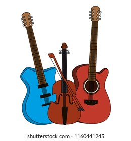 electric guitars and violin instruments