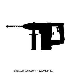 Electric hammer drill. Drill tool with bit icon. Household electric instrument for boring wood and metal with screwdriver function. Perforator vector illustration