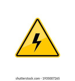 Electric hazard sign with lighting or thunder icon in yellow triangle. Vector high voltage sign, caution and danger warning symbol, shock hazard mark. Danger. Keep out. Lighting bolt arrow