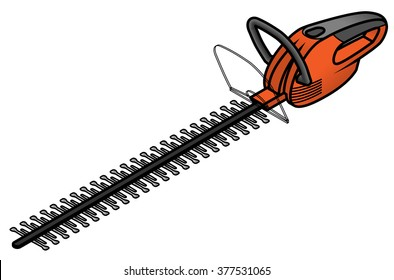 An electric hedge trimmer.