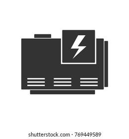 Electric home generator icon. Vector silhouette isolated on white background
