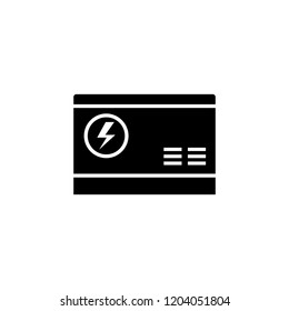 Electric home generator silhouette icon. Clipart image isolated on white background