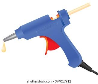 Electric hot glue gun with glue sticks. Vector illustration.
