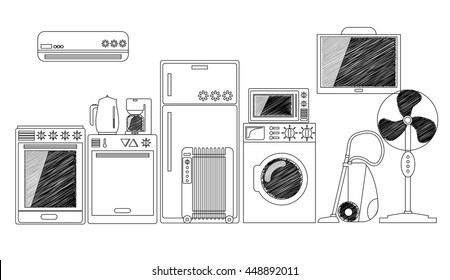 Electric House Appliances, Monochrome Outlined Vector Illustration. Black And White Home Electronics. Comfort Technology. Modern Kitchen Ware: Fridge, Oven, Washer, Dishwasher, Conditioner, Pot, Fan