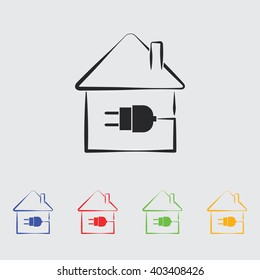 Electric House Plug Icon Stock Photo (Photo, Vector, Illustration ...