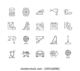 Electric housewares and fans line icons, signs, vector set, outline illustration concept