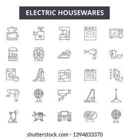 Electric housewares line icon signs. Linear vector outline illustration set concept.