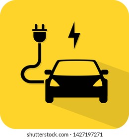 Electric hybrid car charging port station. EV dock. Flat 3D shadow design. yellow background black vector. product brand service label banner board display. App icon.