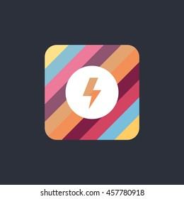 electric icon or button in flat style with long shadow, isolated vector illustration on colorful transparent background